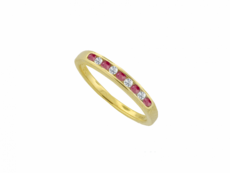 9ct Gold Ruby & Diamond Channel Set Half Eternity Ring
