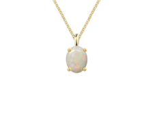 9ct Gold Oval Opal Claw Set Pendant Necklace