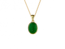 9ct Gold Rubover Set Jade Pendant Necklace
