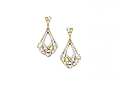 9ct Yellow & White Gold Two Tone Openwork Drop Earrings