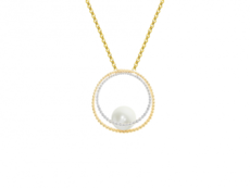 9ct Yellow & White Gold Cultured Freshwater Pearl Two Tone Circle Pendant Necklace