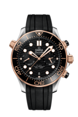 Omega Seamaster Diver 300M Omega Co-Axial Master Chronometer Black Dial Two Tone Mens Chronograph Watch 21022445101001