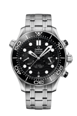 Omega Seamaster Diver 300M Omega Co-Axial Master Chronometer Black Dial Stainless Steel Mens Chronograph Watch 21030445101001
