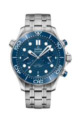 Omega Seamaster Diver 300M Omega Co-Axial Master Chronometer Blue Dial Stainless Steel Mens Chronograph Watch 21030445103001