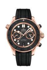 Omega Seamaster Diver 300M Omega Co-Axial Master Chronometer Black Dial 18ct Rose Gold Mens Chronograph Watch 21062445101001