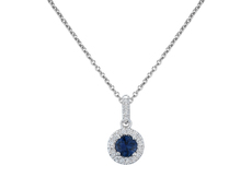 18ct White Gold Round Sapphire & Diamond Set Halo Cluster Pendant Necklace
