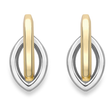 9ct Yellow & White Gold Oval Stud Earrings