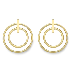 9ct Yellow Gold Double Circle Drop Stud Earrings