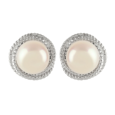 9ct White Gold Pearl & Double Rope Knot Surround Stud Earrings