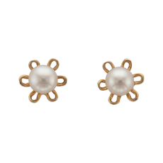 9ct Gold Pearl Flower Design Stud Earrings