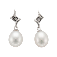 9ct White Gold Pearl & Diamond Set Drop Earrings