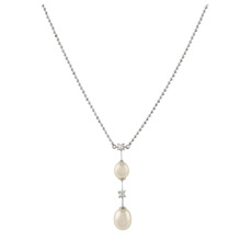 18ct White Gold Pearl & Diamond Set Bar Pendant Necklace