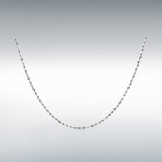 "9ct White Gold Hollow Diamond Cut Rope Chain Link 18"" Necklace"