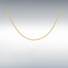 "9ct Yellow Gold Hollow Diamond Cut Prince of Wales Rope Chain Link 18"" Necklace"