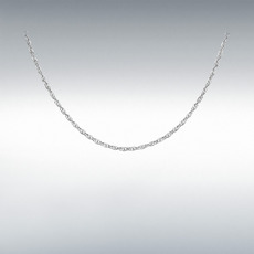 "9ct White Gold Hollow Diamond Cut Prince of Wales Rope Chain Link 18"" Necklace"