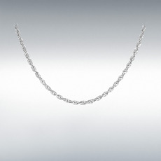 "9ct White Gold Hollow Diamond Cut Prince of Wales Rope Chain Link 16"" Necklace"