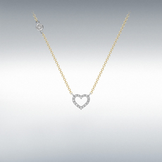 9ct Yellow & White Two Tone Gold Cubic Zirconia Set Openwork Heart Pendant Necklace
