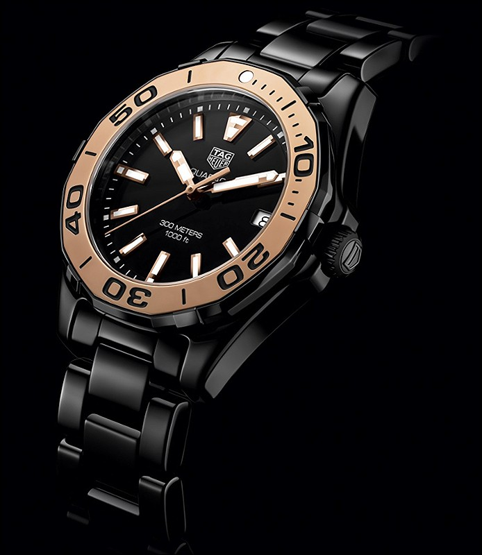 Tag Heuer Aquaracer Lady Black Ceramic Amp Rose Gold Womens