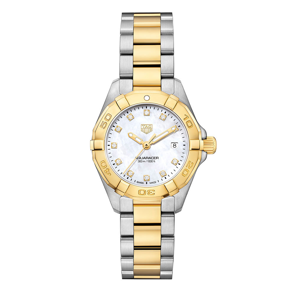 ff73cf3ccb80 TAG Heuer Aquaracer Lady Mother of Pearl Diamond Set Dial Two Tone Womens  Quartz Watch WBD1422