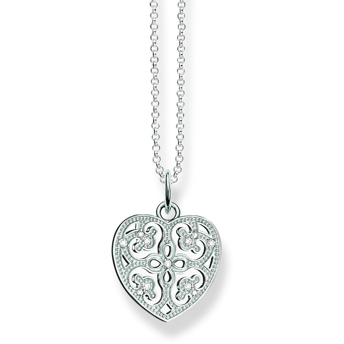 Thomas sabo glam soul sterling silver zirconia ornament heart thomas sabo glam soul sterling silver zirconia ornament heart pendant necklace ke1557 051 aloadofball Choice Image