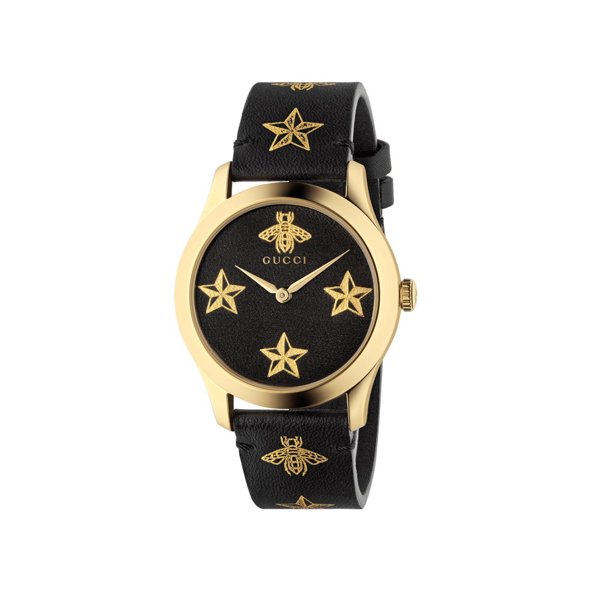 5dd09243b4e Gucci G-Timeless Le Marché des Merveilles Garden Bee   Stars Black Leather  Dial PVD