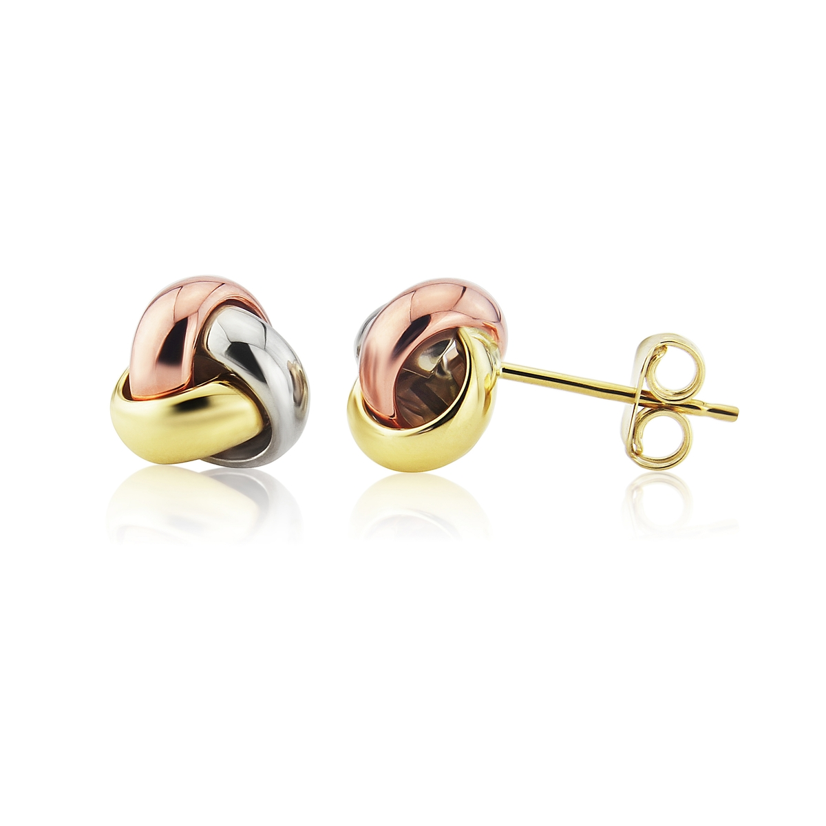 16c98e31a 9ct 3 Colour Gold Knot Stud Earrings - TB Mitchell - Earrings - TB ...